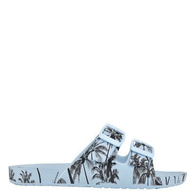 나인 웨스트 NINE WEST Splash Flat Slide Sandals,Blue Palm Print