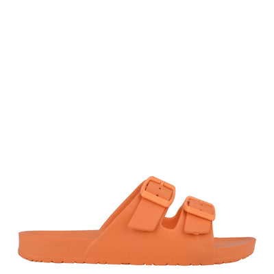 나인 웨스트 NINE WEST Splash Flat Slide Sandals,Neon Orange