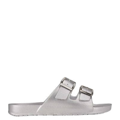 나인 웨스트 NINE WEST Splash Flat Slide Sandals,Silver
