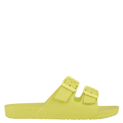 나인 웨스트 NINE WEST Splash Flat Slide Sandals,Neon Yellow