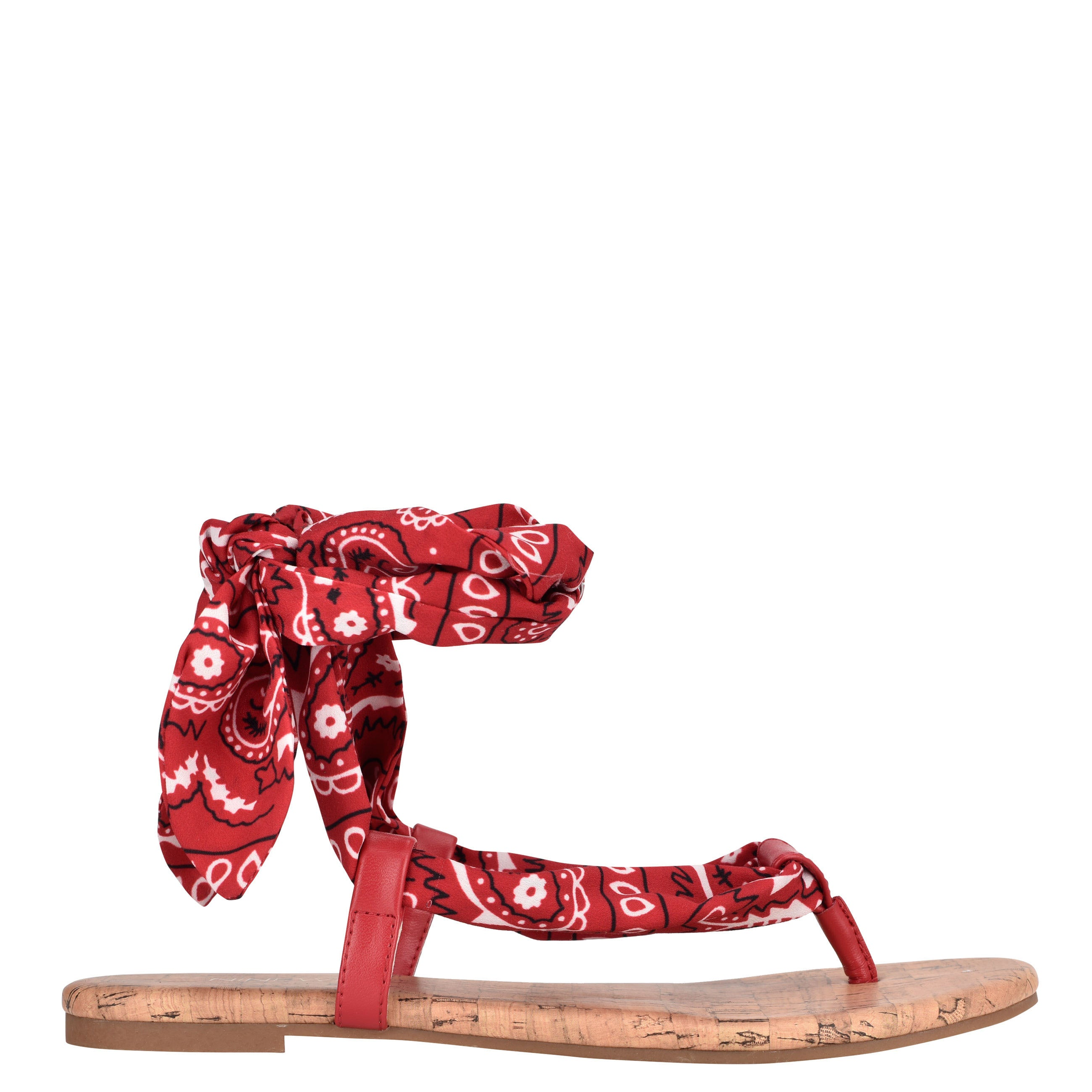 NINEWEST Trap Ankle Wrap Flat Sandals