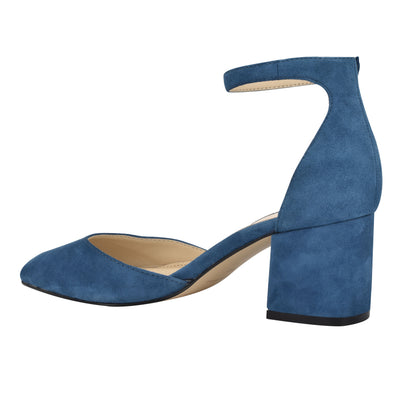 Trini Ankle Strap Block Heel Pumps