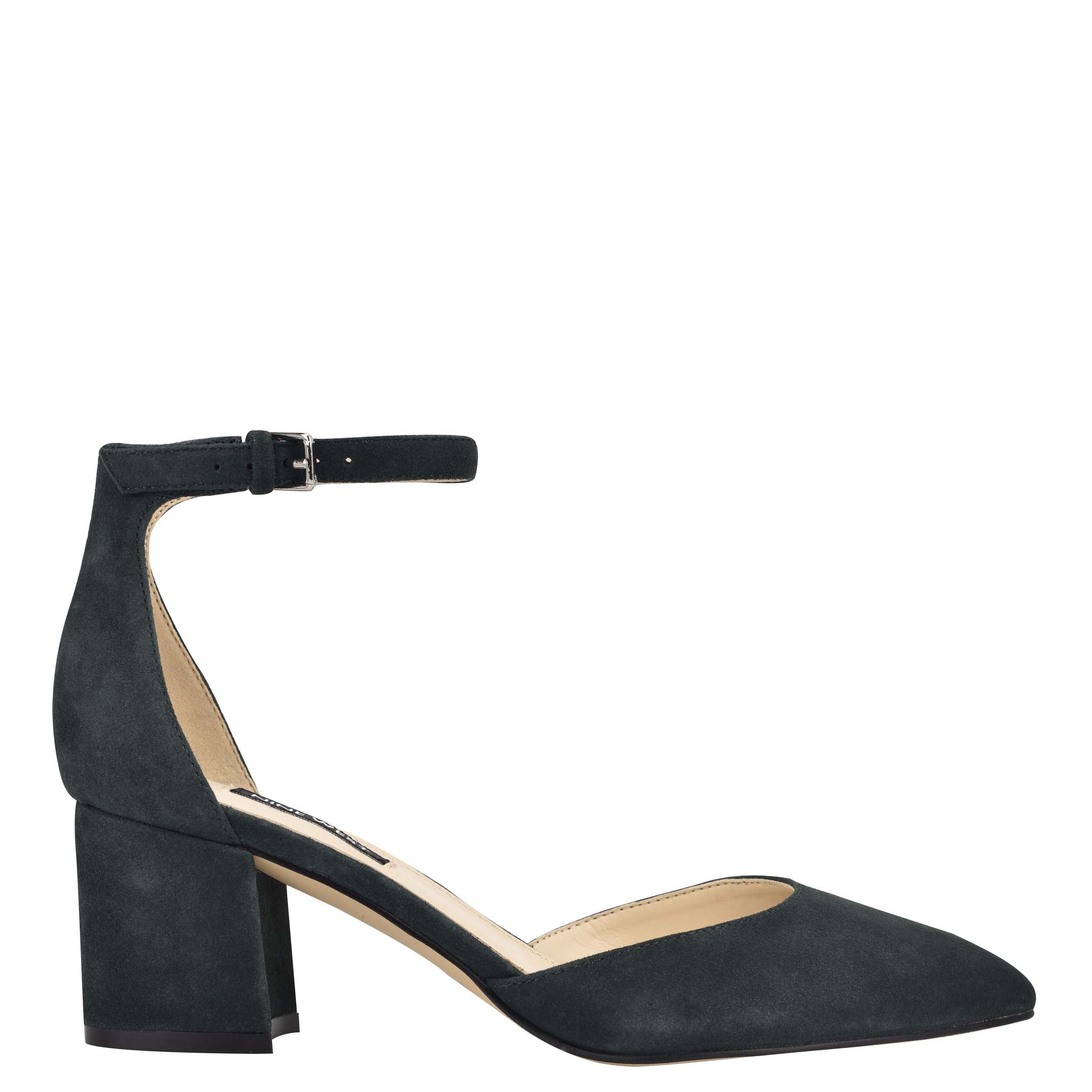 NINEWEST Trini Ankle Strap Block Heel Pumps