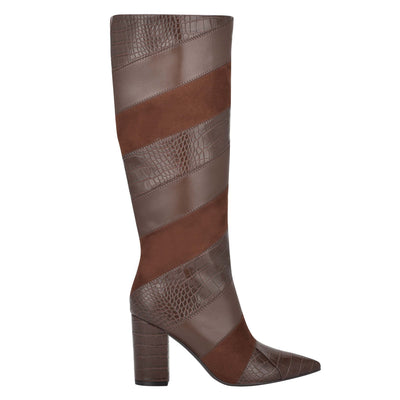 나인 웨스트 NINE WEST Ursala Dress Boots,Brown Multi