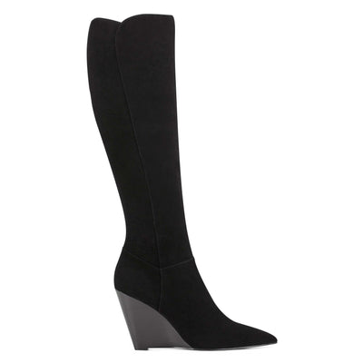 나인 웨스트 NINE WEST Varin Wedge Boots,Black Suede