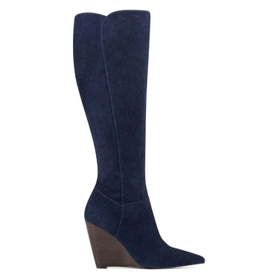나인 웨스트 NINE WEST Varin Wedge Boots,Navy Suede