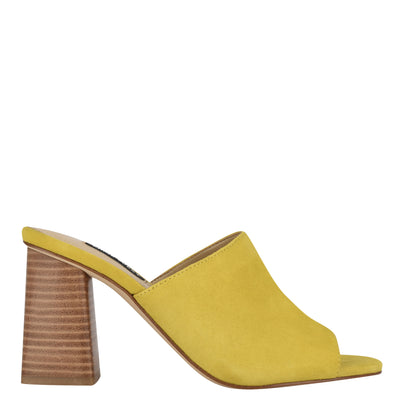나인 웨스트 NINE WEST Yuna Heeled Slide Sandals,Yellow Suede