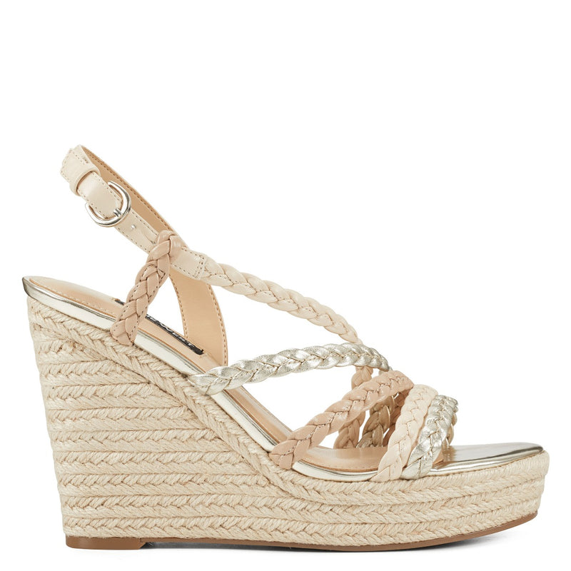 나인 웨스트 샌들 NINE WEST Halsee Espadrille Wedge Sandals,Gold Multi