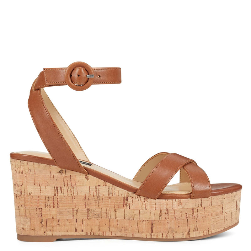 나인 웨스트 NINE WEST Janessa Ankle Strap Wedges,Dark Natural Leather