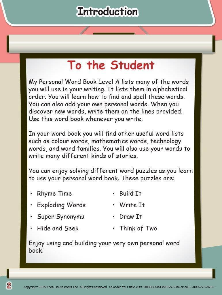 My Personal Word Book Level A 2nd Edition