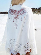 Load image into Gallery viewer, White Eagle Print Lace Panel Open Front Long Sleeve Cardigan