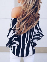 Load image into Gallery viewer, Black Women Ruched Blouse Zebra Stripes Chiffon Off Shoulder Chic