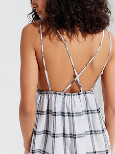 White Women Mini Dress Grid Plunge Strap Back Cross Backless Chic