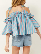 Load image into Gallery viewer, Light Blue Stripe Off Shoulder Ruffle Trim Chic Women Cami Blouse