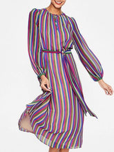 Load image into Gallery viewer, Multicolor Stripe Chiffon Tie Waist Long Sleeve Chic Women Midi Dress