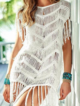 Load image into Gallery viewer, White Cotton Blend Tassel Trim Chic Women Blouse