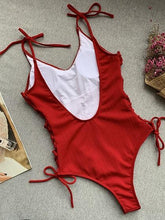 Load image into Gallery viewer, Red V-neck Lace Up Side Open Back One-Piece Swimsuit