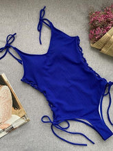 Load image into Gallery viewer, Blue V-neck Lace Up Side Open Back One-Piece Swimsuit