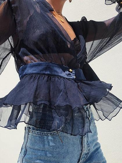 Blue V-neck Ruffle Trim Puff Sleeve Sheer Mesh Crop Blouse