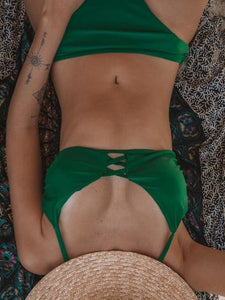 Green Bikini Set Lace Up Front