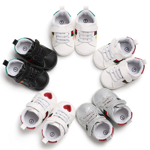 First Walkers Baby Shoes Buckle multicolor love Fashion Sneakers Newborn Baby Crib Shoes Boys Girls Infant Toddler Soft Sole