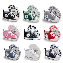 Load image into Gallery viewer, Newborn First Walkers Crib Shoe White Soft Anti-Slip Sole Unisex Toddler Casual Canvas Baby Infant Boy Girl Shoes