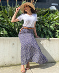 Floral A-Line Skirt With Belt