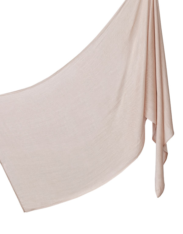 Cotton Tassleless Shawl - Nude