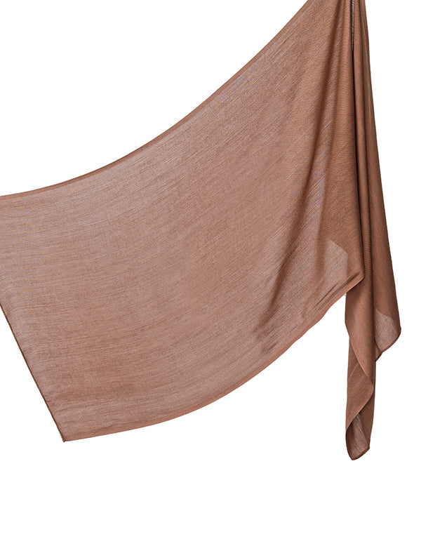 Cotton Tassleless Shawl - Chocolate