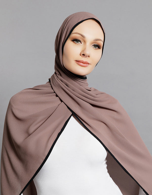Piping Scarf - Taupe -  Modelle
