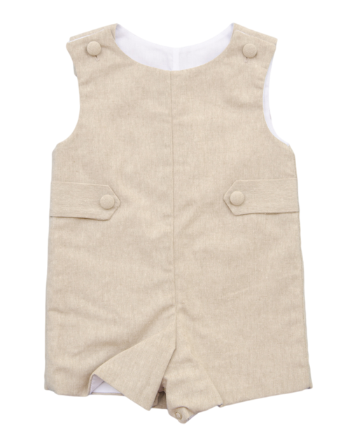 Glorimont Oatmeal Linen Shortall - Baby Boy/Toddler Boy