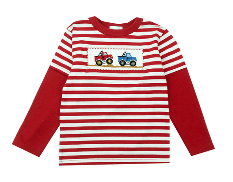Vive La Fete Smocked Monster Trucks Tee Shirt