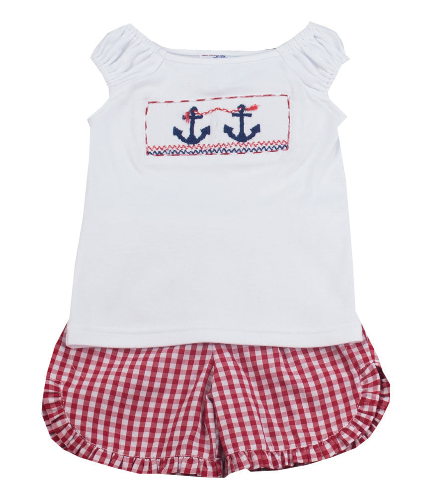 Vive La Fete Anchor Smocked Short Set - Kids on King