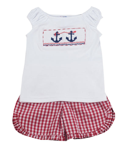 Vive La Fete Anchor Smocked Baby/Toddler Girl Short Set