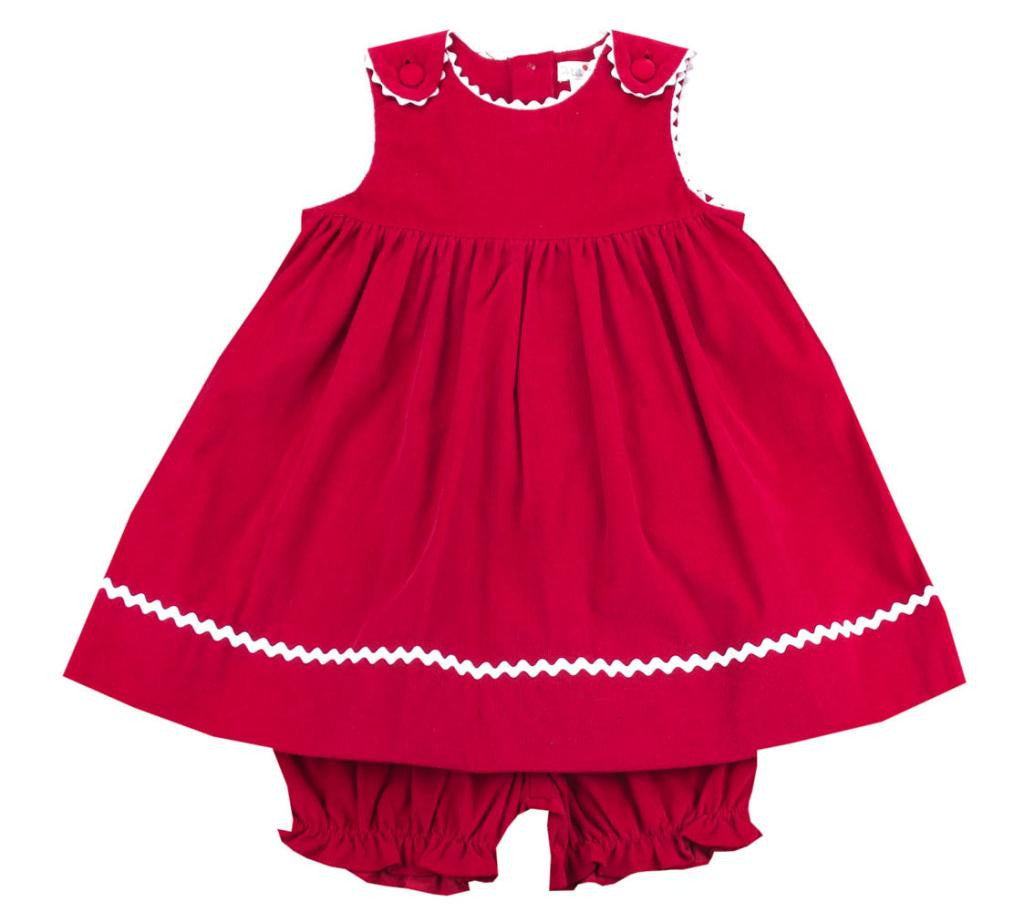 Petit Ami Red Corduroy Dress Set - Kids on King