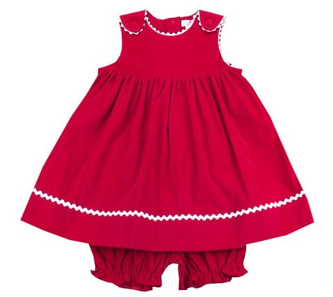 Petit Ami Red Corduroy Baby/Toddler Girl Dress Set