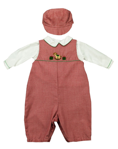 Petit Ami Gingham Christmas 2pc Set - Baby Boy