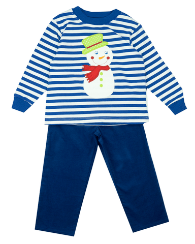 The Bailey Boys Snowman Appliqué Two Piece Pant Set