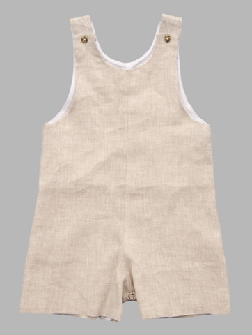 Jack and Teddy Khaki Linen Shortall - Baby Boy