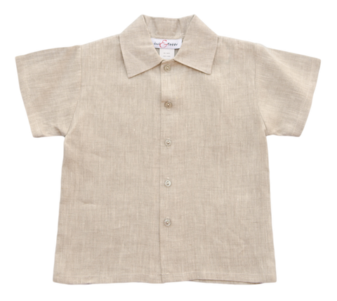 Jack and Teddy Khaki Linen Dress Shirt - Baby/Toddler Boy