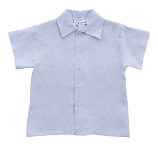 Jack and Teddy Light Blue Linen Dress Shirt - Kids on King
