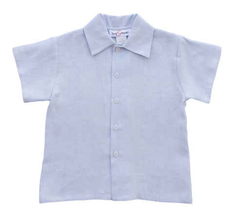 Jack and Teddy Light Blue Linen Dress Shirt - Baby/Toddler Boy