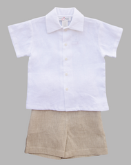 Jack and Teddy Khaki Linen Shorts - Baby Boy