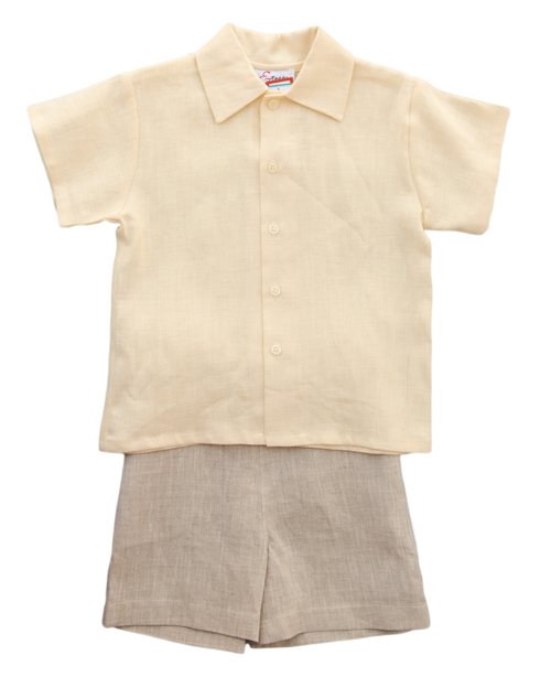 Jack and Teddy Yellow Linen Dress Shirt - Kids on King