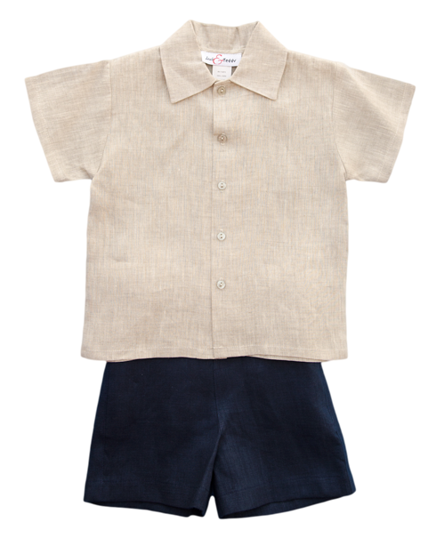 Jack and Teddy Navy Linen Shorts - Kids on King