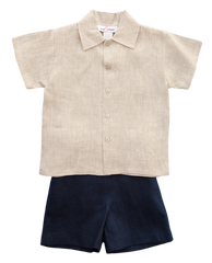 Jack and Teddy Navy Linen Shorts - Baby Boy