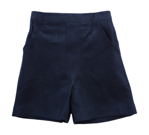Jack and Teddy Navy Linen Shorts - Boy