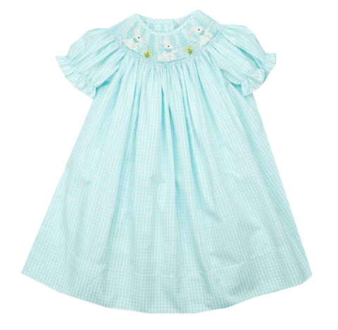 Delaney Blue Smocked Bunny Bishop Dress