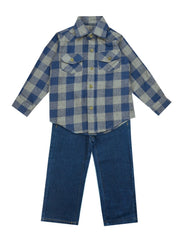 E Land Blue And Gray Flannel Shirt- Toddler/ Boy
