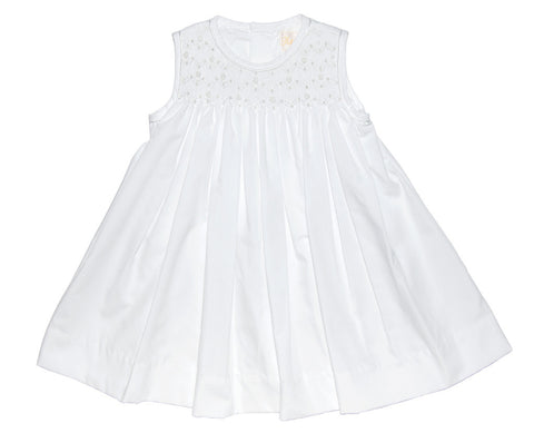 Petit Ami White Smocked Dress - Baby Girl